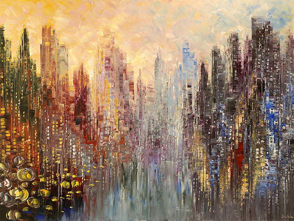 "original contemporary cityscape by Tatiana Iliina, palette knife, urban, modern, acrylic on canvas, 30""x40"""