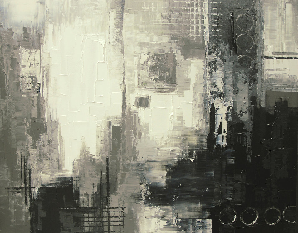 Alien Outpost black and white abstract painting by Tatiana Iliina, acrylic on canvas, 24x30