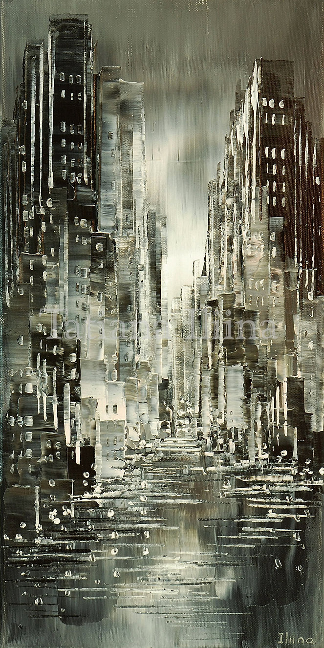 Damp and Drizzle, original black and white cityscape palette knife painting by Tatiana iliina