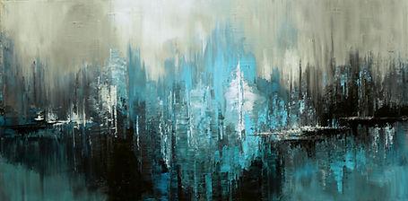 Feed the Spiritl, original abstract painting by Tatiana Iliina, palette knife, dark aqua urban art