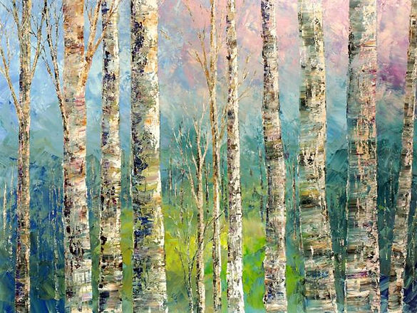 original palette knife landscape painting by Tatiana Iliina, acrylic on canvas, 24'x36""