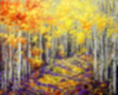 Yellow Brick Road original fall colors landscape painting by Tatiana Iliina