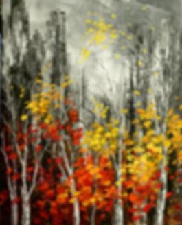 city skyline with fall foliage painting by Tatiana Iliina