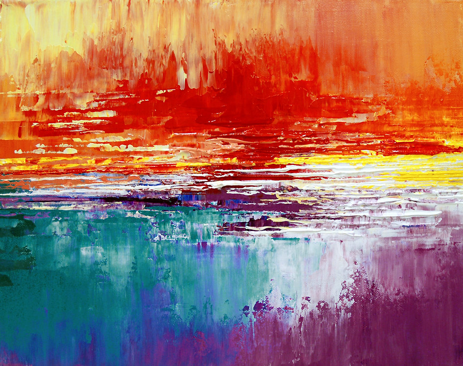 Lost Island, original abstract seascape sunset painting by Tatiana Iliina, palette knife, acrylic on canvas
