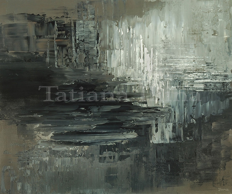 Chalk and Charcoal, original black and white abstract palette knife painting by Tatiana iliina