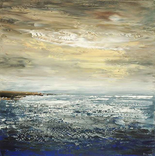 original ocean painting by Tatiana Iliina, palette knife, acrylic on canvas, 30'x30""