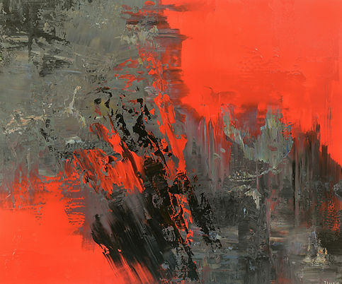 contemporary abstract painting by Tatiana Iliina, palette knife, red, black, acrylic on canvas, 30'x36""