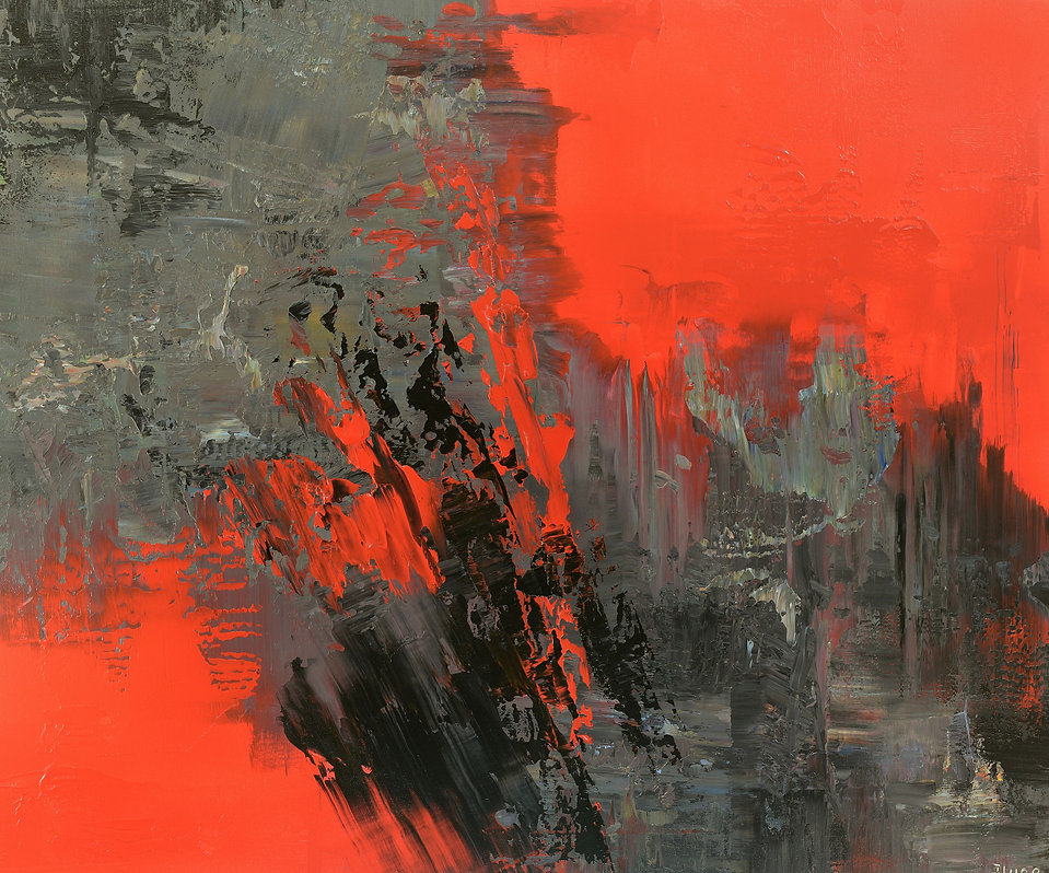 "contemporary abstract painting by Tatiana Iliina, palette knife, red, black, acrylic on canvas, 30""x36"""