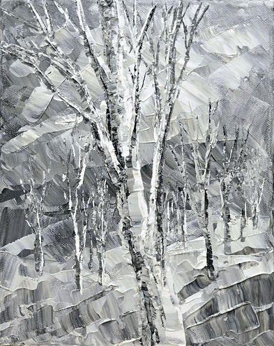 """Norther Pewter, original impressionist landscape painting by Tatiana Iliina, palette knife, acrylic on canvas, 10""""x12"""""""