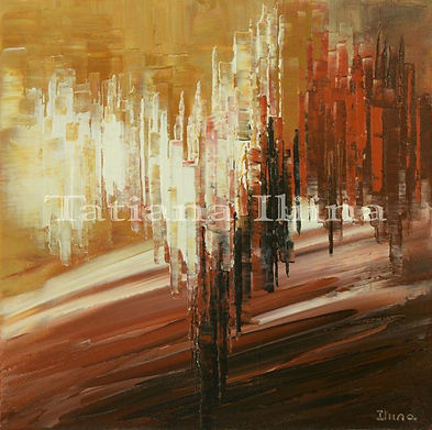 abstract painting by Tatiana iliina, acrylic on canvas, brown, earth tones, small