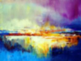 Miage, original abstract landscape painting by Tatiana Iliina, palette knife, acrylic on canvas