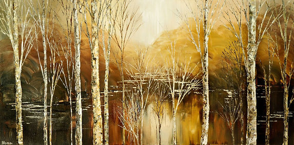 original landscape birch painting by Tatiana Iliina, palette knife,acrylic on canvas, 24'x36""