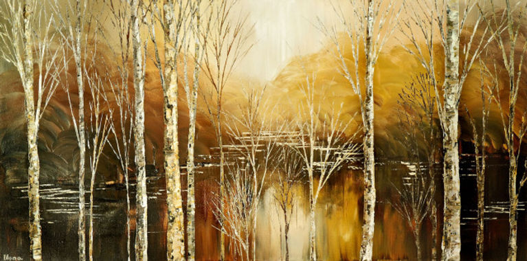 Birch in White Satin original palette knife landscape painting by Tatiana iliina
