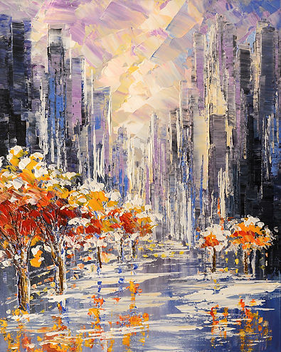 Unexpected Visitor, original cityscape palette knife painting by Tatiana Iliina, with snow on autumn trees