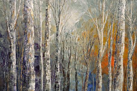 Fox Runs Free, original fall winter landscape painting by Tatiana Iliina