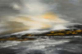 Lashed to Windward original abstract seascape painting by Tatiana Iliina