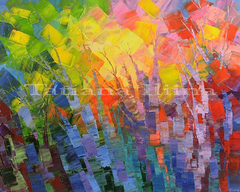 Far-off Fables by Tatiana iliina, abstract landscape forest painting