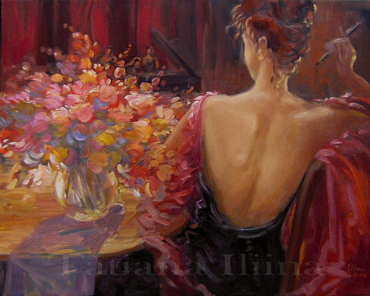 "Original figurative painting by Tatiana Iliina, Play it Again, acrylic on canvas, 30""x36"""