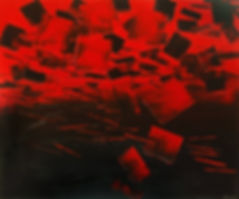 Feed the Spirit, original abstract painting by Tatiana Iliina, palette knife, dark aqua urban art