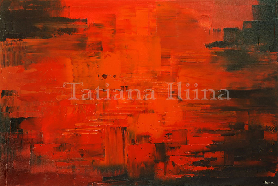 Diabolical Direction, original dark red abstract palette knife painting by Tatiana iliina