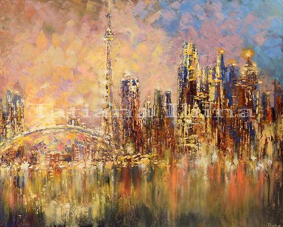 "Toronto YYZ, city skyline painting by Tatiana Iliina, palette knife, acrylic on canvas, 24""x30"""