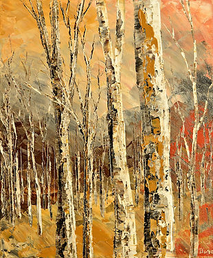 Forest Cabin original palette knife landscape painting by Tatiana iliina for sale