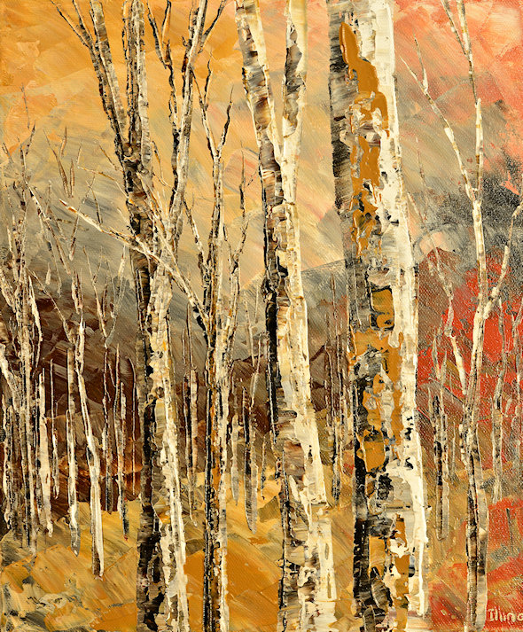 Forest Cabin original palette knife landscape painting in warm colors by Tatiana iliina