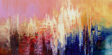 Sensuous Cognition, original abstract painting by Tatiana Iliina, palette knife, colorful modern art