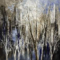 "original contemporary landscape painting by Tatiana Iliina, dark blue cityscape, trees, palette knife, impressionist, on canvas, 24""x24"""