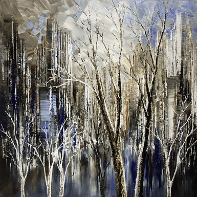 "original contemporary landscape painting by Tatiana Iliina, dark blue cityscape, trees, palette knife, impressionist, on canvas, 24""x24"""