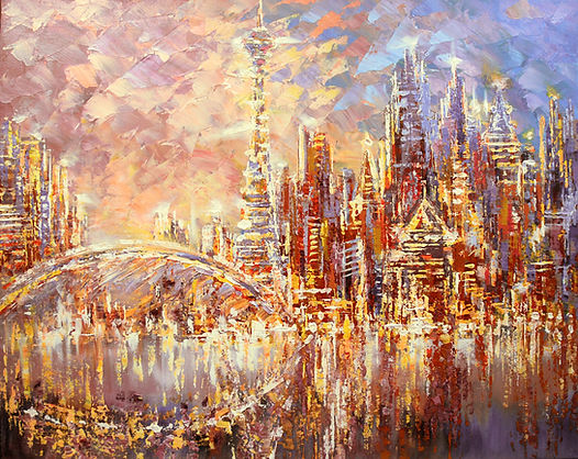 "original city skyline painting by Tatiana Iliina, impressionist contemporary palette knife cityscape, acrylic on canvas, 24""x30"""