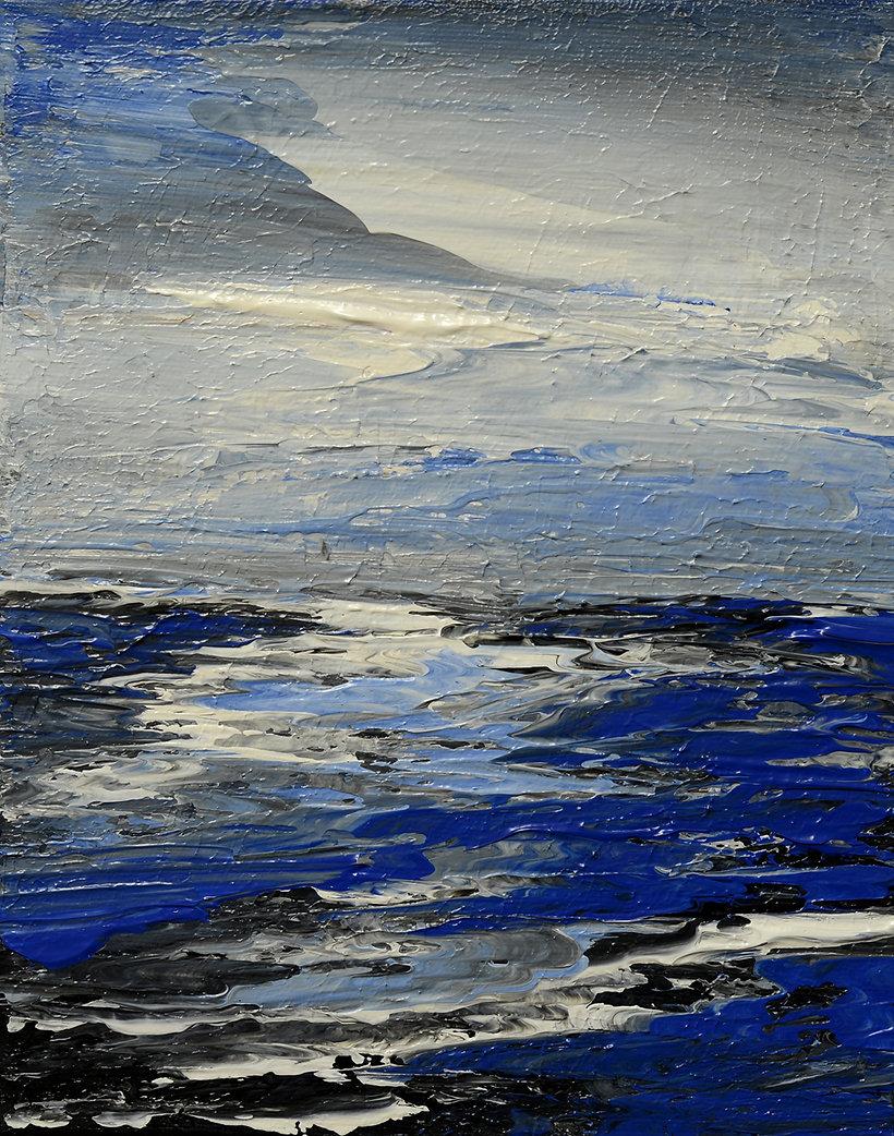 Treasure Island, original seascape sunset painting by Tatiana Iliina, palette knife, acrylic on canvas