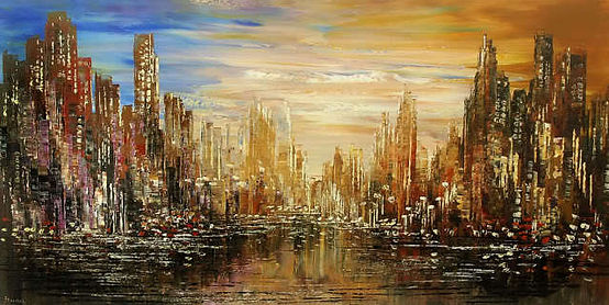"""large, original contemporary cityscape painting by Tatiana Iliina, acrylic on canvas, gold, blue, palette knife,24""""x48"""""""