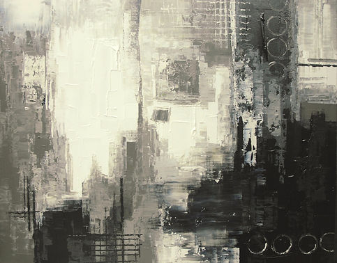 """Alien Outpost black and white abstract painting by Tatiana Iliina, acrylic on canvas, 24'x36"""""""
