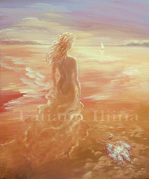 Daughter of the Sea, original figurative painting by Tatiana Iliina