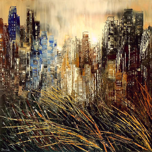 original city painting by Tatiana Iliina, palette knife, acrylic on canvas, 24'x36""