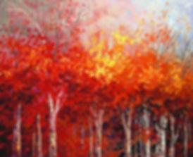 Woodland Drama original fall landscape painting by Tatiana Iliina for sale