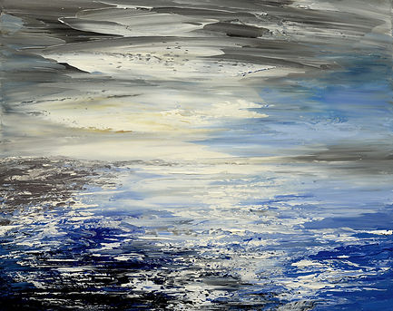 Safe on Shore seascape painting by Tatiana Iliina original abstract seascape painting by Tatiana Iliina