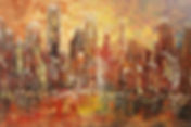 original contemporary Chicago skyline painting by Tatiana Iliina, palette knife cityscape, acrylic on canvas, 24'x36""