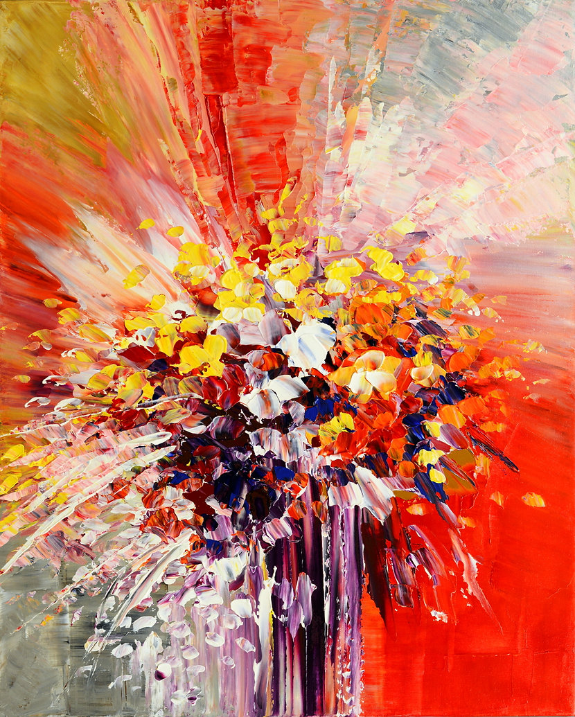 Tropic Intensity, original contemporary flower painting by Tatiana iliina