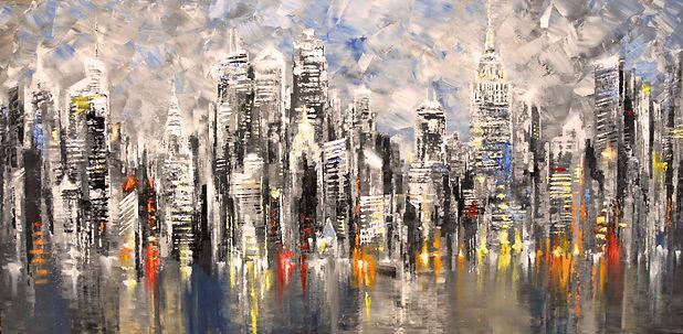 "original New York City skyline painting by Tatiana Iliina, impressionist palette knife cityscape, acrylic on canvas, 24""x48"""
