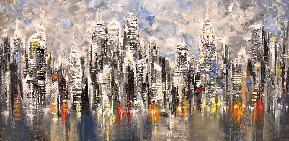 original New York City skyline painting by Tatiana Iliina, impressionist palette knife cityscape, acrylic on canvas, 24x48