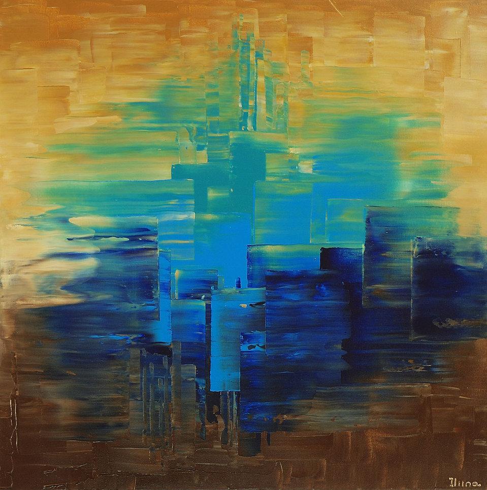 Bordertown, original dark blue abstract palette knife painting by Tatiana iliina