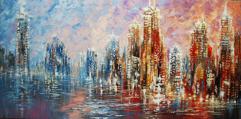 original modern Chicago cityscape painting by Tatiana Iliina, large palette knife skyline, acrylic on canvas, 24x48