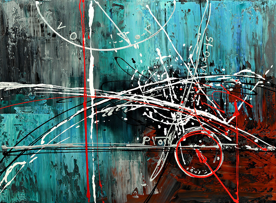 Descent of Data large abstract painting, original abstract aerospace science painting by Tatiana Iliina, palette knife, space travel art