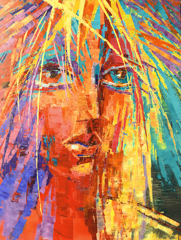 Untamed Spirit original large woman face painting by Tatiana iliina for sale and exhibition