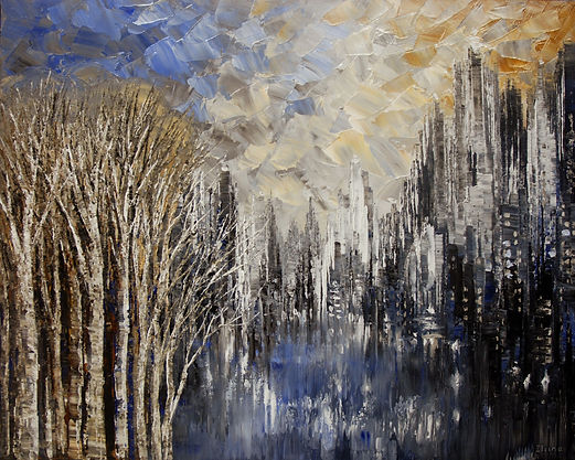 "original impressionist cityscape painting by Tatiana Iliina, palette knife, acrylic on canvas, 24'x36"""