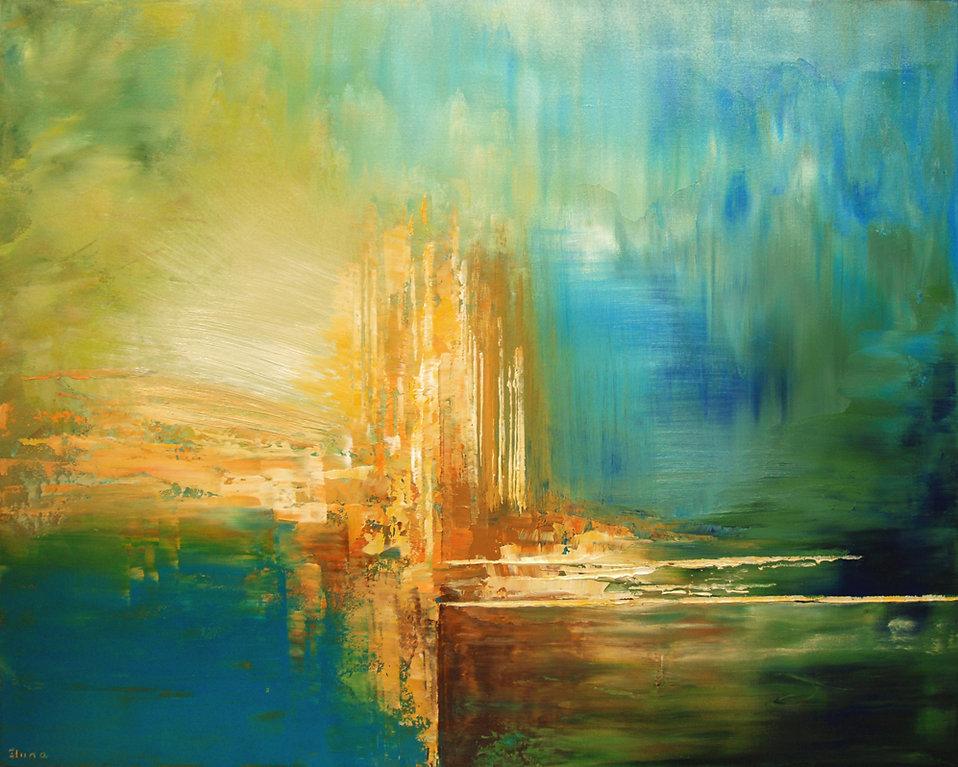 "original abstract landscape painting by artist Tatiana Iliina, blue, gold, acrylic on canvas, 24""x30"""