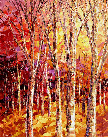 Listening to Leaves, by Tatiana iliina original fall colors landscape painting