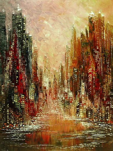 "original contemporary city skyline painting by Tatiana Iliina, palette knife, acrylic on canvas, 20""x40"""